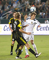LA Galaxy midfielder David Beckham (23) heads the ball during the second half of the game between LA Galaxy and the Columbus Crew at the Home Depot Center in Carson, CA, on September 11, 2010. LA Galaxy 3, Columbus Crew 1.