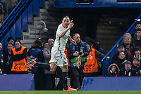 Zlatan Ibrahimovic of Paris Saint-Germain celebrates the first goal during the UEFA Champions League Round of 16 2nd leg match between Chelsea and PSG at Stamford Bridge, London, England on 9 March 2016. Photo by Andy Rowland.