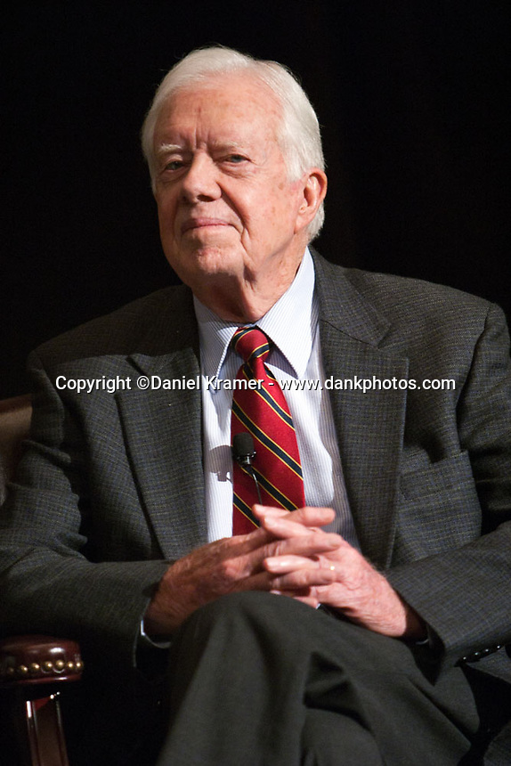 """After a May 20, 2008, screening of the HBO Film """"Recount"""" President Jimmy Carter participates in a discussion at the James A. Baker III Institute for Public Policy at Rice University in Houston, Texas about the U.S. federal election system."""