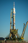The Soyuz TMA-11M rocket, adorned with the logo of the Sochi Olympic Organizing Committee and other related artwork, is seen after being erected into position at the launch pad on Tuesday, Nov. 5, 2013, at the Baikonur Cosmodrome in Kazakhstan. Launch of the Soyuz rocket is scheduled for November 7 and will send Expedition 38 Soyuz Commander Mikhail Tyurin of Roscosmos, Flight Engineer Rick Mastracchio of NASA and Flight Engineer Koichi Wakata of the Japan Aerospace Exploration Agency on a six-month mission aboard the International Space Station. <br /> Mandatory Credit: Bill Ingalls / NASA via CNP
