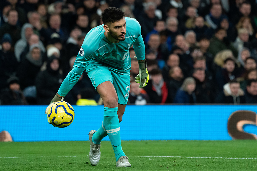 Tottenham's Paulo Gazzaniga plays the ball short<br /> <br /> Photographer Stephanie Meek/CameraSport<br /> <br /> The Premier League - Tottenham Hotspur v Liverpool - Saturday 11th January 2020 - Tottenham Hotspur Stadium - London<br /> <br /> World Copyright © 2020 CameraSport. All rights reserved. 43 Linden Ave. Countesthorpe. Leicester. England. LE8 5PG - Tel: +44 (0) 116 277 4147 - admin@camerasport.com - www.camerasport.com