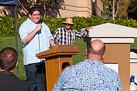 Julio Perez speaks at the Occupy Orange County, Irvine camp on November 5.