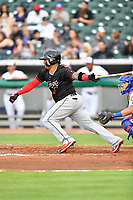 Birmingham Barons catcher Yermin Mercedes (6) swings at a pitch during a game against the Tennessee Smokies at Smokies Stadium on May 15, 2019 in Kodak, Tennessee. The Smokies defeated the Barons 7-3. (Tony Farlow/Four Seam Images)