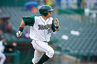 Fort Wayne TinCaps catcher Juan Fernandez (37) runs to first base during a Midwest League game against the Kane County Cougars at Parkview Field on May 1, 2019 in Fort Wayne, Indiana. Fort Wayne defeated Kane County 10-4. (Zachary Lucy/Four Seam Images)