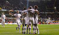 Celebrations following Erik Lamela of Tottenham Hotspur hat trick during the UEFA Europa League group match between Tottenham Hotspur and Monaco at White Hart Lane, London, England on 10 December 2015. Photo by Andy Rowland.