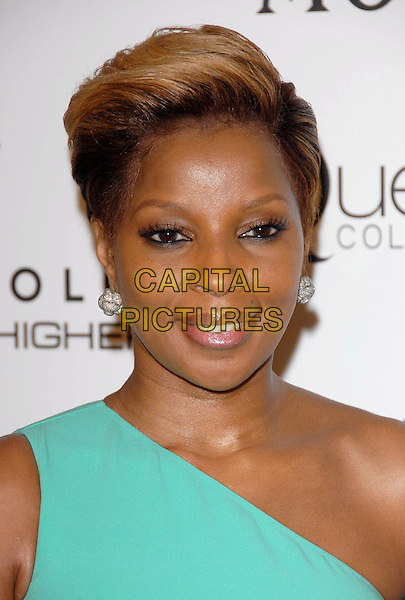 MARY J. BLIGE.The Third Annual ESSENCE Black Women In Hollywood Luncheon held at The Beverly Hills Hotel in Beverly Hills, California, USA..March 4th, 2010                                                                    .headshot portrait diamond earrings  green one shoulder.CAP/RKE/DVS.©DVS/RockinExposures/Capital Pictures.