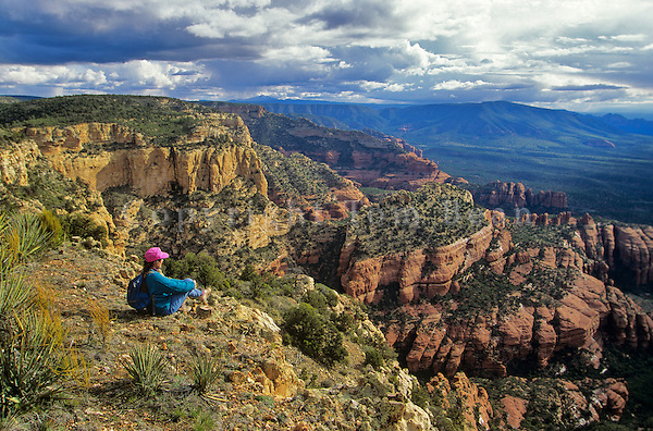 Hiker in Red Rock Country, on Bear Mountain in Red Rock-Secret Mountain Wilderness, Coconino National Forest, Sedona, Arizona, AGPix_0395..