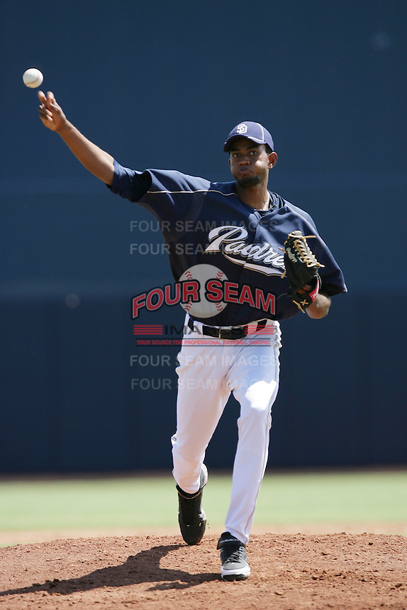 Tayron Guerrero #17 of the AZL Padres pitches against the AZL Royals at Peoria Sports Complex on July 24, 2012 in Surprise, Arizona. Padres defeated Royals 9-7. (Larry Goren/Four Seam Images)