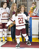 Meghan Grieves (BC - 17), Debbie Grieves, ?, Haley Skarupa (BC - 22), Brooke DiBona (BC) - The Boston College Eagles defeated the visiting Providence College Friars 7-1 on Friday, February 19, 2016, at Kelley Rink in Conte Forum in Boston, Massachusetts.