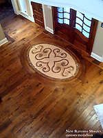 Custom foyer medallion in Travertine White, Travertine Noce, and Emperador Dark.