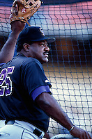 Colorado Rockies Manager Don Baylor participates in a Major League Baseball game at Dodger Stadium during the 1998 season in Los Angeles, California. (Larry Goren/Four Seam Images)