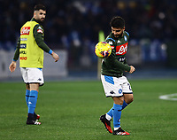 26th January 2020; Stadio San Paolo, Naples, Campania, Italy; Serie A Football, Napoli versus Juventus;  Lorenzo Insigne of Napoli pre-game warm up