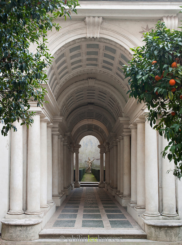 Borromini Perspective at the Galleria Spada. The corridor is only nine metres long, but looks much longer, Rome, Italy.