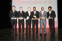 DC United awardees from left to right Chris Pontius (Fan's Choice Award) Devon McTavish ( US Soccer Foundation/MLS W.O.R.K.S. Humanitarian of the Year) Bryan Namoff (Goal of the Year) Luciano Emilio Budweiser Golden Boot) Rodney Wallace (Coaches Award) and Clyde Simms (Volkswagen Most Valuable Player)    At the 6th Annual DC United Awards Presentation ,at the Atlas Performing Arts Center in Washington DC ,Wednesday October 27, 2009.