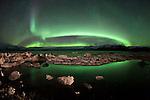 Aurora Borealis at the Glacier Lagoon / Jokulsárlón, south Iceland