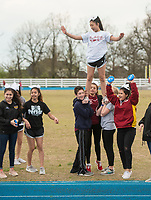 NWA Democrat-Gazette/BEN GOFF @NWABENGOFF<br /> The Springdale High varsity cheerleaders support runners and walkers Saturday, April 21, 2018, during the Northwest Arkansas Kiwanis Clubs Fun Walk benefiting Arkansas Children's Northwest at the track at Springdale Har-Ber High. Thirteen Kiwanis clubs from Benton, Washington and Madison counties joined forces for the annual fundraiser.