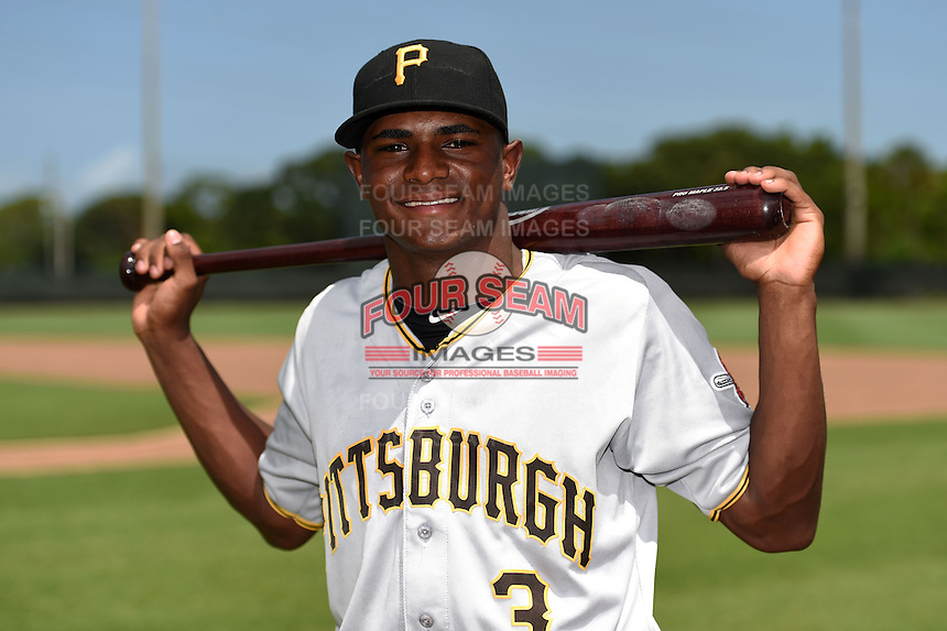 GCL Pirates shortstop Nelson Jorge (3) poses for a photo before a game against the GCL Phillies on June 26, 2014 at the Carpenter Complex in Clearwater, Florida.  GCL Phillies defeated the GCL Pirates 6-2.  (Mike Janes/Four Seam Images)