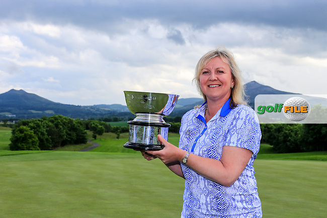 GB &amp; I Team Captain Elaine Farquharson-Black with the trophy after the Sunday Singles matches at the 2016 Curtis cup from Dun Laoghaire Golf Club, Ballyman Rd, Enniskerry, Co. Wicklow, Ireland. 12/06/2016.<br /> Picture Fran Caffrey / Golffile.ie<br /> <br /> All photo usage must carry mandatory copyright credit (&copy; Golffile | Fran Caffrey)
