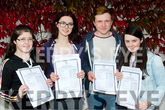 Class Leaving<br /> -------------------<br /> L-R Emma O'Connor, Elenor Joy, Eoin Doyle and Susanne Murphy from Killorglin Community Collage are all smiles after receiving their Leaving Cert results yesterday.