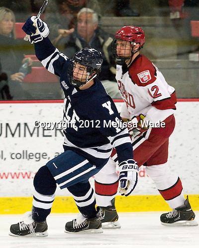 Kenny Agostino (Yale - 18) (Rempel) - The Yale University Bulldogs defeated the Harvard University Crimson 5-1 on Saturday, November 3, 2012, at Bright Hockey Center in Boston, Massachusetts.