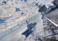 100104-N-7981E-596 PACIFIC OCEAN (Jan. 4, 2011)- The Arleigh Burke-class guided missile destroyer USS Stockdale (DDG 106) conducts refueling-at-sea with the aircraft carrier USS Carl Vinson (CVN 70).  Carl Vinson and Carrier Air Wing (CVW) 17 are on a deployment to the U.S. 7th Fleet area of responsibility. (U.S. Navy photo illustration by Mass Communication Specialist 2nd Class James R. Evans / RELEASED)