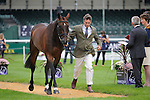 Sam Griffiths during the First Vets Inspection at the 2014 Land Rover Burghley Horse Trials held at Burghley House, Stamford, Lincolnshire