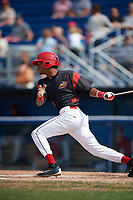 Batavia Muckdogs center fielder Brayan Hernandez (41) at bat during the first game of a doubleheader against the Mahoning Valley Scrappers on September 4, 2017 at Dwyer Stadium in Batavia, New York.  Mahoning Valley defeated Batavia 4-3.  (Mike Janes/Four Seam Images)