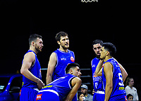 The Saints huddle during the national basketball league match between Cigna Wellington Saints and Hawkes Bay Hawks at TSB Bank Arena in Wellington, New Zealand on Friday, 12 April 2019. Photo: Dave Lintott / lintottphoto.co.nz