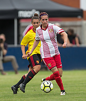Amy Josland of Stevenage Ladies & Lilli Maple of Watford Ladies during the pre season friendly match between Stevenage Ladies FC and Watford Ladies at The County Ground, Letchworth Garden City, England on 16 July 2017. Photo by Andy Rowland / PRiME Media Images.