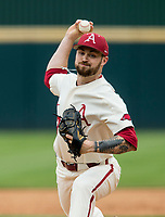 NWA Democrat-Gazette/BEN GOFF @NWABENGOFF<br /> Cody Scroggins pitches for Arkansas in the 6th inning vs LSU Saturday, May 11, 2019, at Baum-Walker Stadium in Fayetteville.