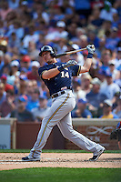 Milwaukee Brewers third baseman Hernan Perez (14) at bat during a game against the Chicago Cubs on August 13, 2015 at Wrigley Field in Chicago, Illinois.  Chicago defeated Milwaukee 9-2.  (Mike Janes/Four Seam Images)