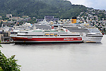 Fjordline ferry ship and cruise ship in docks, city of Bergen, Norway
