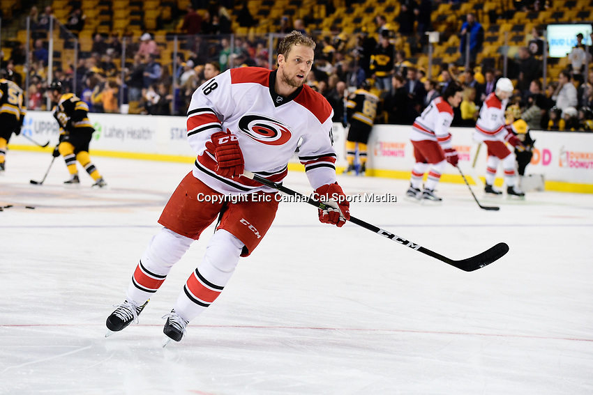Thursday, December 1, 2016: Carolina Hurricanes center Jay McClement (18) warms up before the start of the National Hockey League game between the Carolina Hurricanes and the Boston Bruins held at TD Garden, in Boston, Mass. Boston defeats Carolina 2-1 in an overtime shoot-out. Eric Canha/CSM
