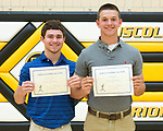 May 30, 2017- Tuscola, IL- Dalton Hoel and Noah Pierce were honored as IHSBCA Academic All-Staters at the TCHS Spring Awards. [Photo: Douglas Cottle]