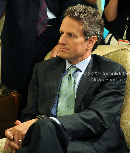 United States Secretary of the Treasury Timothy Geithner looks on as U.S. President Barack Obama speaks to the media after meeting with Federal Reserve Board Chairman Ben Bernanke in the Oval Office of the White House in Washington on Tuesday, June 29, 2010.  .Credit: Roger L. Wollenberg - Pool via CNP