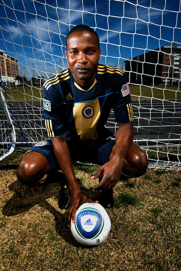 Danny Mwanga Philadelphia Union Major League Soccer player. PHOTO BY: BRIAN BLANCO. COPYRIGHT: BRIAN BLANCO.{ ONE-TIME USEAGE RELEASED TO PHILADELPHIA STYLE MAGAZINE (PRINT AND ONLINE)} NO THIRD-PARTY SALES. NO  EDITORIAL OR COMMERCIAL SALES, USE, OR PUBLICATION WITHOUT PRIOR, WRITTEN, LICENSING AGREEMENT FROM BRIAN BLANCO