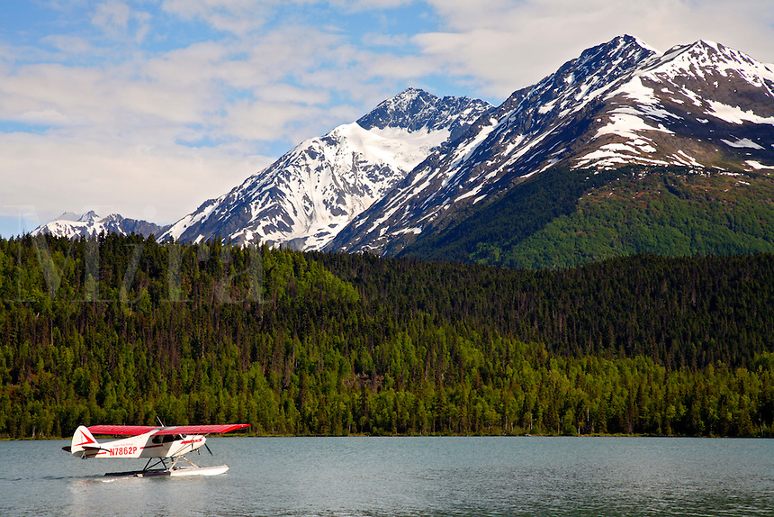 Floatplane on Lower Trail Lake, Kenai Peninsula, Chugach National Forest, Alaska.