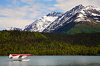Floatplane on Lower Trail Lake, Kenai Peninsula, Chugach National Forest, Alaska.