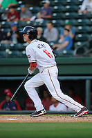 Catcher Jordan Weems (18) of the Greenville Drive bats in a game against the Delmarva Shorebirds on Monday, April 29, 2013, at Fluor Field at the West End in Greenville, South Carolina. Weems was selected by the Boston Red Sox in the 3rd Round of the 2011 First-Year Player Draft. Greenville won, 3-1 in game two of a doubleheader. (Tom Priddy/Four Seam Images)