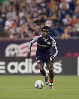 New England Revolution defender Emmanuel Osei (5) brings the ball forward. The New England Revolution defeated DC United, 1-0, at Gillette Stadium on August 7, 2010.