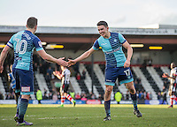 Luke O'Nien (right) & Matt Bloomfield of Wycombe Wanderers at full time during the Sky Bet League 2 match between Grimsby Town and Wycombe Wanderers at Blundell Park, Cleethorpes, England on 4 March 2017. Photo by Andy Rowland / PRiME Media Images.