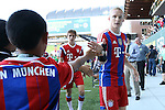 06 August 2014: Bayern Munich's Sebastian Rode (GER) (right) with some young fans. The Major League Soccer All-Stars played Bayern Munich of the German Bundesliga at Providence Park in Portland, Oregon in the 2014 MLS All-Star Game. The MLS All-Stars won the game 2-1.