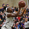 Aziah Hudson #2 of Baldwin drives inside the paint during the Class AA varsity girls basketball Long Island Championship against Central Islip at SUNY Old Westbury on Saturday, March 11, 2017. Baldwin, who led by one point (31-30) late in the third quarter, used a 22-0 run spanning the third and fourth quarters en route to a 56-31 win.
