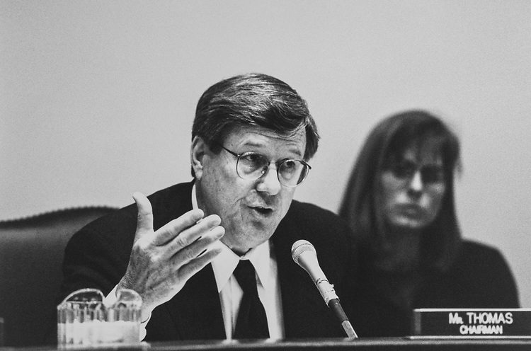 Chairman of House Oversight Rep. Bill Thomas, R-Calif., in March 1997. (Photo by Rebecca Roth/CQ Roll Call via Getty Images)