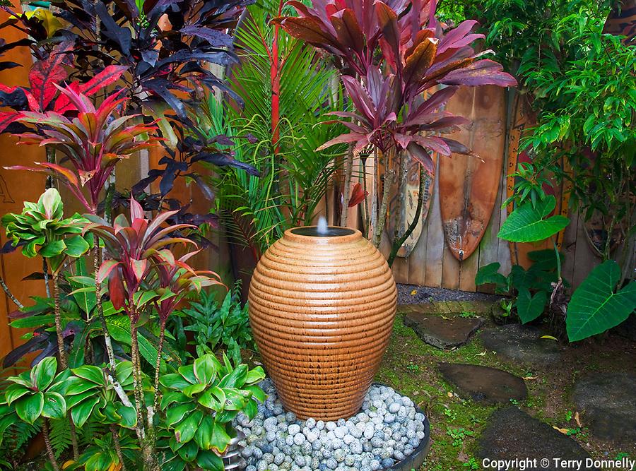 Hanalei, Kauai, Hawaii<br /> Garden detail of the Kauai Surfboard House