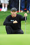 Padraig Harrington lining up his putt on the first on day three of the 3 Irish Open, at the Killarney Golf and Fishing Club, Killarney, Ireland.Picture Fran Caffrey/www.golffile.ie.