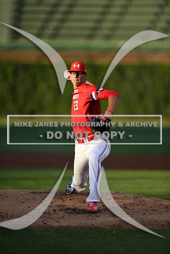 Mason Denaburg (23) of Merritt Island High School in Merritt Island, Florida during the Under Armour All-American Game presented by Baseball Factory on July 29, 2017 at Wrigley Field in Chicago, Illinois.  (Mike Janes/Four Seam Images)
