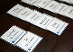 Name tags await DePaul President A. Gabriel Esteban, Ph.D., and his wife Josephine before a reception Thursday, July 20, 2017, at The Chicago Club. The event was organized to welcome the Estebans to Chicago and introduce them to some of Chicago&rsquo;s most influential women. <br /> (DePaul University/Jamie Moncrief)