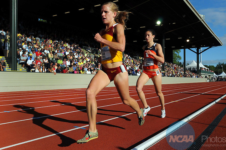 11 JUNE 2010:  Lisa Koll runs in the 5000 meters during the Division I Men's and Women's Track and Field Championship held at Hayward Field on the University of Oregon campus in Eugene, OR. Koll won the race with a time of 15:23.80. Steve Dykes/NCAA Photos