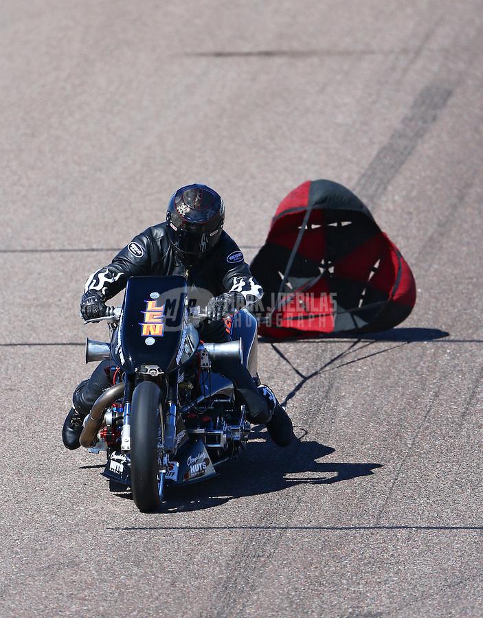 Feb 28, 2016; Chandler, AZ, USA; NHRA top fuel Harley motorcycle rider Len Darnell during the Carquest Nationals at Wild Horse Pass Motorsports Park. Mandatory Credit: Mark J. Rebilas-